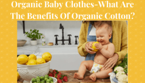 Organic Baby Clothes-Baby sitting on kitchen bench.