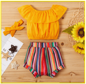 Kids and Babies' fashion for 2020-Baby 3 piece girl flounced top and muli color shorts