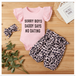 Babies fashion for 2020-Baby 3-piece Letter Print Bodysuit and Leopard Print