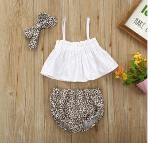 Kids and babies fashion clothes-3-piece Slip Top and Leopard PP Shorts with Headband Set