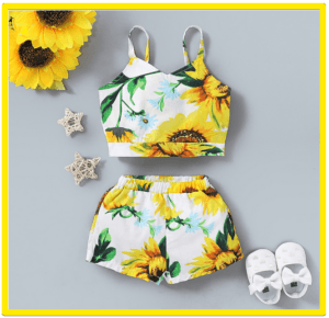 Kids and Babies' fashion for 2020-Toddler Girl Sunflower Slip Top and Short