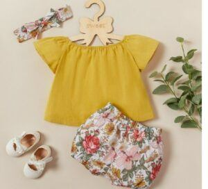 Kids and babies fashion trends-Toddler Solid Top and Floral Print Shorts with Headband Set