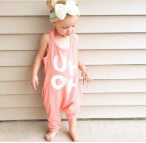 Kids and babies fashion clothes-Baby / Toddler Girl Trendy Letter Print Strappy Onesies