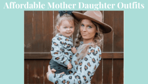 Affordable mother daughter outfits-Mother and daughter wearing matching leopard Sweat shirts