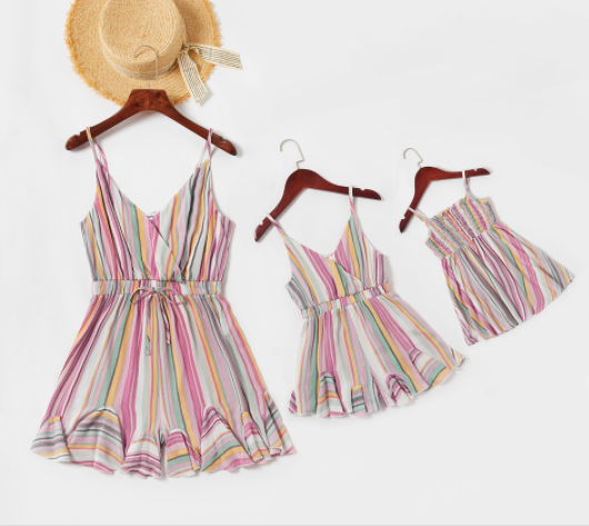 Mother and daughter matching outfits-Colorful Vertical Stripe Matching Shorts Rompers.
