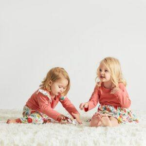 Affordable Mother daughter outfits-Sibling playing on rug wearing matching outfits