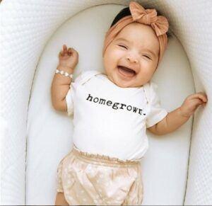 Finn Emma Review-Baby wearing Homegrown onesie