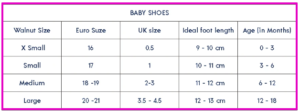The best shoes for babies learning how to walk-size chart