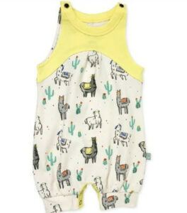 Best gender neutral baby clothes-Certified organic unisex baby romper 'the lamas'.