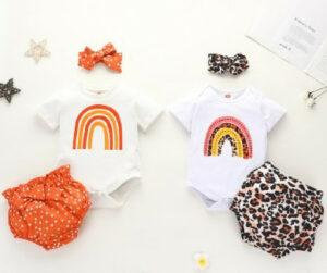 Trends in baby clothes for girls-Girls clothing sets with rainbow onesies and hair accessories
