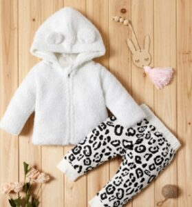 Pat Pat baby clothes-Adorable fleece coat and leopard print baby clothe set