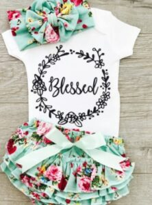 Pat pat baby clothes-Baby girl baby clothes set 'Blessed'