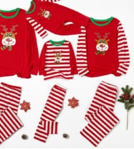 Pat Pat baby clothes-Christmas Cute Deer Print Striped Family Matching Pajamas Set