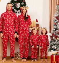 Family Matching Christmas PJs-Family of 4 wearing matching Chritmas PJs