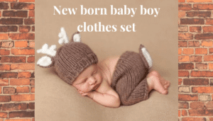 Newborn Baby boy clothing set- Cute knitted deer set