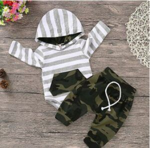 Newborn baby boy set- Baby Boy's Striped Camouflage Hooded Bodysuit and Drawstring Pants