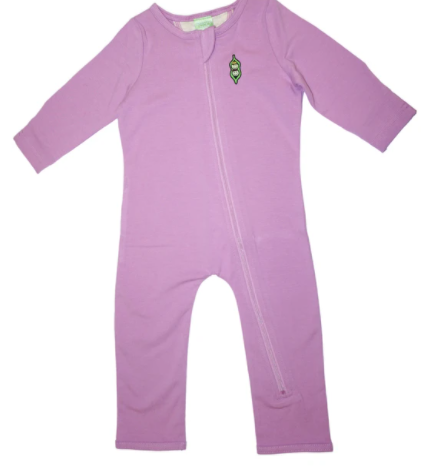 Best sustainable infant baby clothes-Purple playsuit certified with Oeko-Tex 100 label
