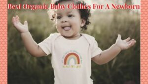 Best organic baby clothes for a newborn-Baby wearing a organic onesie with graphic design