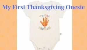 Baby's first Thanksgiving Onesie-Finn+Emma organic onesie 'My first Thanksgiving'.