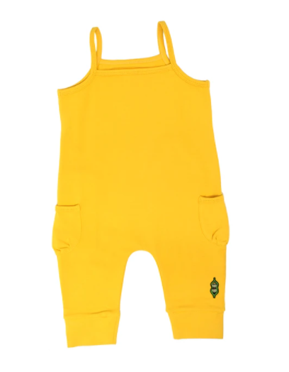 Best sustainable infant baby clothes- Yellow skip hop romper