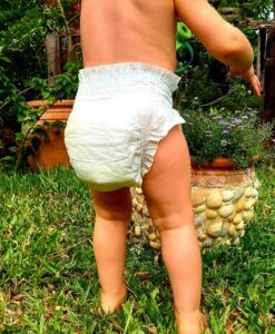 Best Eco friendly nappies? Baby wearing eco nappy 'Ecoriginal'.