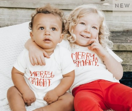 Black Friday Organic Baby Clothes Sale- Baby and toddler wearing the same organic Christmas outfit.