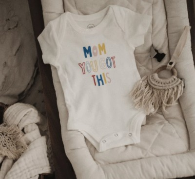Best Organic Baby Clothes for a Newborn-Organic graphic onesie 'Mom You got this'.
