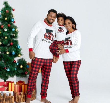 Mother-daughter matching outfits-Matching family Christmas PJ's.