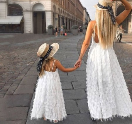 Mother Daughter Matching outfits-Mother and daughter in matching white dresses
