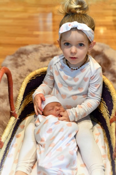 Best baby clothes online-Newborn baby and toddler wearing matching bamboo outfit.
