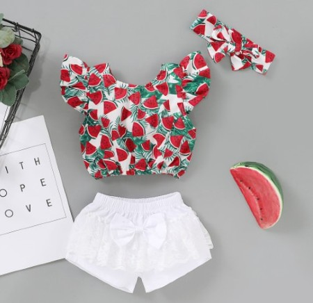 Inexpensive Cute Baby clothes for girls-Cute cotton watermelon outfit for girls.