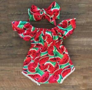 Inexpensive cute baby clothes for girls-Cute watermelon outfit with matching hairband.