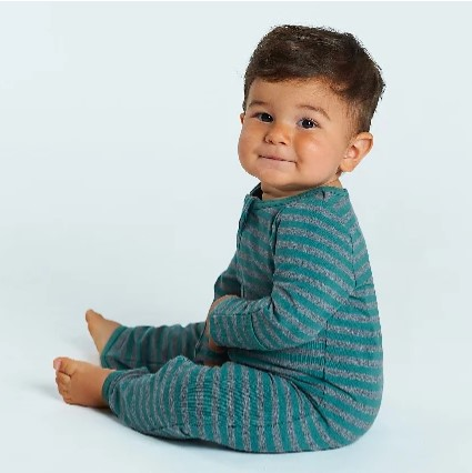 Best sustainable infant baby clothes-Baby sitting up wearing comfortable grey green body suit.