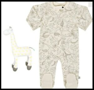 What's the best baby shower gifts?-G.O.T.S organic playsuit and hand knitted giraffe.