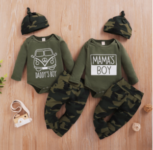 Trendy baby boy clothes-3pcs Baby Boy casual Camouflage Baby's Sets Romper Cotton Fashion Long Sleeve Infant Clothing Outfits