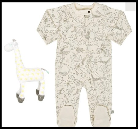 Best Infant baby clothing gits sets-Organic Giftset Jungle footie with hand knitted giraffe rattle.