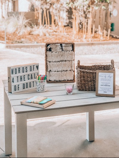 What's the best baby shower gift? Entrance table at baby shower party.