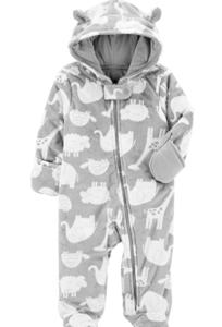Simple joys carter baby fleece footed jumpsuit pram 'Grey animals'.