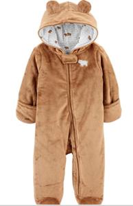 Simple joys carter baby fleece footed jumpsuit pram 'Brown Bear'.