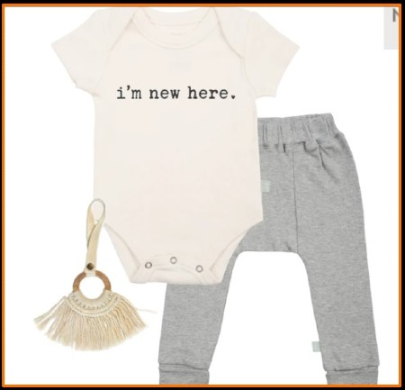 What is Gender Neutral Baby Clothes?-Organic cotton baby gift set including handmade toy.