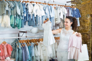 What's Carter's Children Clothing?-Lady shopping for baby clothes.