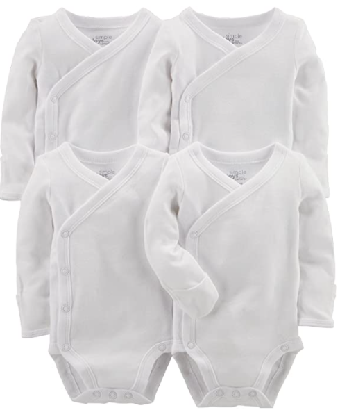 Simple joys carter baby 4 pack side snap bodysuit bundle
