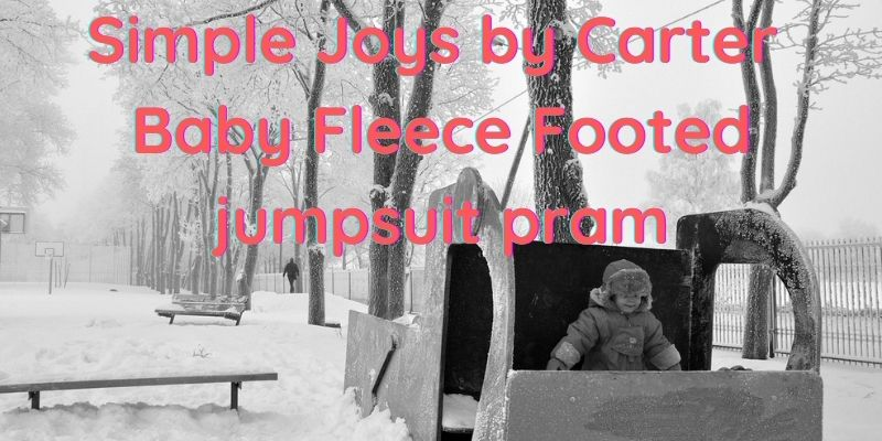 Simple joys carter baby fleece footed jumpsuit pram-Young child outside in cold weather wearing a jumpsuit.
