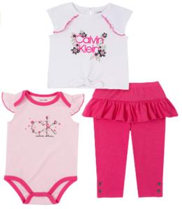 What're designer baby clothes?-Calvin Klein baby girl clothes' set.