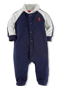 Ralph Laure n baby Boy outfits-Polo Ralph Lauren jersey shawl rugby coverall.