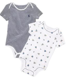 Ralph Lauren baby boy outfits-Two Ralph Lauren baby boy bodysuits French Navy.