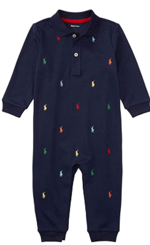 Ralph Lauren Baby Boy Outfits-Ralph Lauren baby boys pony cotton Interlock Coverall Navy outfit.