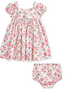What're designer baby clothes?-Ralph Lauren baby girl dress.