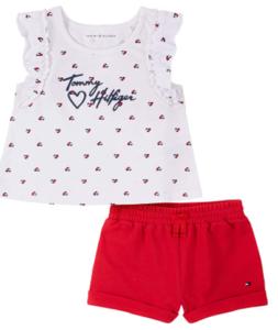 What're designer baby clothes'?- Tommy Hilfiger short set for girls.